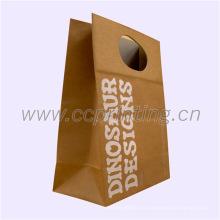 Paquete de alimentos Bolsa de papel marrón de Kraft con mango de papel