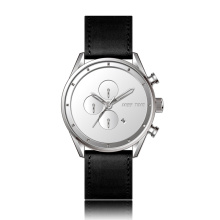 stainless steel case genuine leather black quartz mens watch