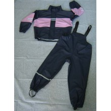 Yj-6070 Girls Toddler Kids Pink Black Raincoats PU Rainwear Rain Slicker