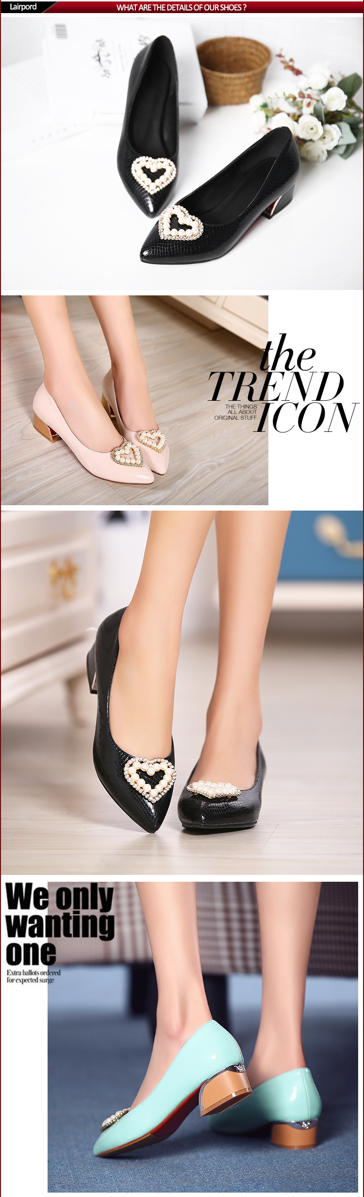 low heel PU Serpentine shoes