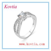 Jóia de platina requintado anel de noivado AAA zircão