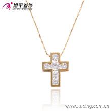 32279-moda popular 18 k banhado a ouro diamantes cz cruz imitação de jóias colar de pingente