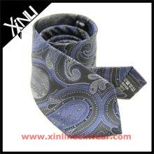 Italy Jacquard Woven Paisley Silk Necktie, Grey Silk Tie