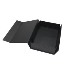 Caixa de papel de dobradura preta com logotipo feito sob encomenda do ímã