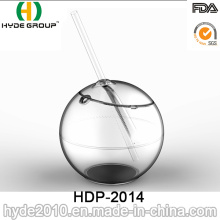 22oz Single Wall Acrylic Ball Shape Cup with Straw (HDP-2014)