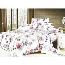 100% cotton T/C Polyester Panel rose printed bedding set