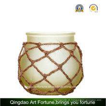 Rodada de vidro bola vela lanterna para decoração de casa