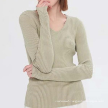 Fashionable ribbed slim fit women's cashmere sweater