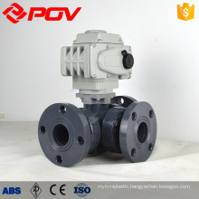 Plastic UPVC socket motorized ball valve 3 way