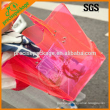 Fashionable clear PVC waterproof beach tote bag for shopping