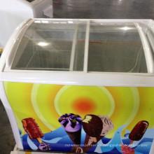 Eiscreme-Gefrierschrank Gebogener Glastür-Eiscreme-Kasten-Gefrierschrank