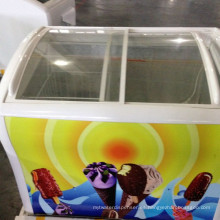 congelador de helados Curved Glass Door Helado de helados