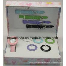 Presente do relógio do movimento da promoção Japão ajustado com correias e anéis variáveis
