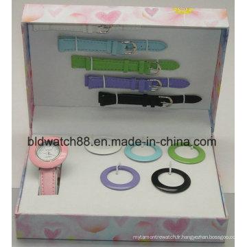 Promotion Japan Movement Watch Set cadeau avec bretelles et bagues interchangeables