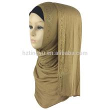 Fournisseur d'usine couleur uni femmes imprimé coton hijab jersey musulman pierre hijab