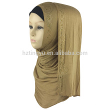 Fábrica fornecedor cor simples mulheres impresso algodão hijab jersey muçulmano pedra hijab