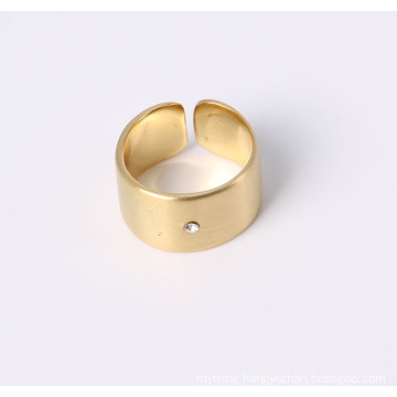 Simple Style Open Ring Smooth Surface with One Stone
