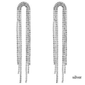 Pendientes largos de dama de moda de diamantes de imitación