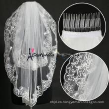 Venda al por mayor el cordón elegante del velo de la boda con el peine 2 capas velo de la boda