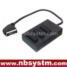 21pin Scart Stecker zu 3 x 21pin Scart Buchsen Box 30cm (dvd.video, dvd-r)