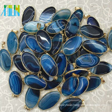 Dark Blue Oval Faced Agate Slab Pendant Jewelry Druzy Geode Gem Stone Bead