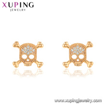 29760 xuping latest designs hot sale fashion skull shape gold diamond stud earring