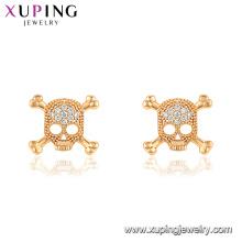 29760 xuping mais recentes modelos de venda quente moda forma de caveira de ouro diamante brinco