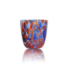 Bougeoir en verre coloré en forme de V