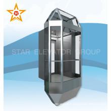 Ascenseur à passagers sans engrenage avec mur d'observation en verre