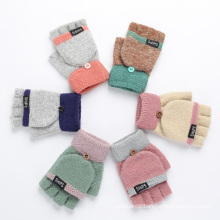 Winter Fashion Cute Thickening Warm Knitted Wool Gloves Five Fingers Flip Gloves