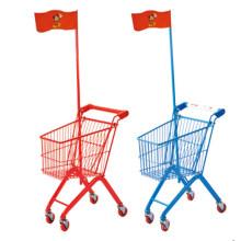Trole pequeno do supermercado da compra do metal das crianças