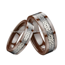 Eternal Love Inlaid Brown Ceramic Rings For Couple / Lovers