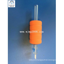 "Tattoo New Disposable 1"" (25mm) Orange Rubber Grips with Transparency Tip Tg-R25-94"