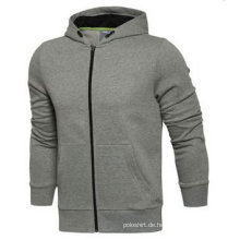 Benutzerdefinierte Dri Fit Plain Fleece Full Zipper Hoodie ohne Logo
