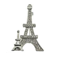 Fashion Strass Vergoldet Zink-Legierung Eiffelturm Brosche
