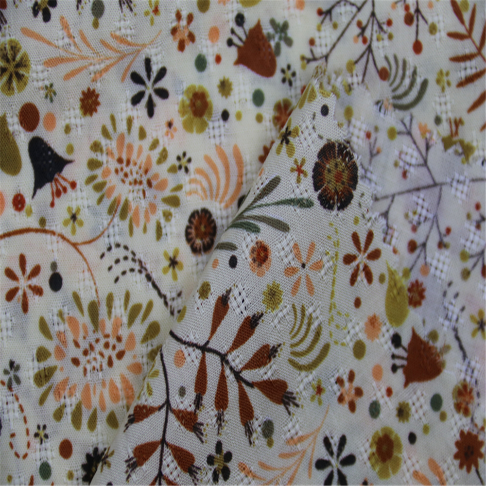 Rayon Plant Pattern Fabric