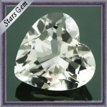 Естественная драгоценная форма сердца Белый топазный камень (STG-92)
