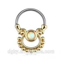 Single Opal Gold Plated Surgical Steel Nose Bull Ring Septum Clicker
