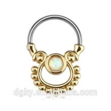 Único ouro opala banhado cirúrgico aço nariz touro anel Septum Clicker