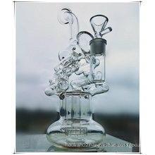 Hb-K49 Recycler Perc Double Helical Ladder Shape Glass Smoking Water Pipe