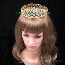 2016 Neues Design Kristall-Tiara-Gold überzogene Rhinestone-Krone