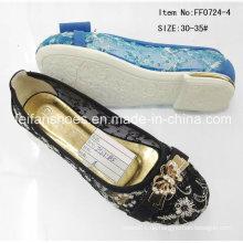 Schwarze Kind-Pantoffel-flache Schuhe Einzelne Schuhe Mädchen-Schuhe (FF0724-4)