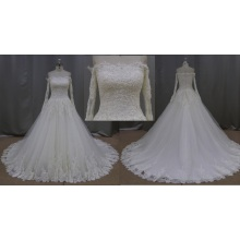 Sheer Bodice Wedding Ball Gown Lace Bridal Wedding Dress