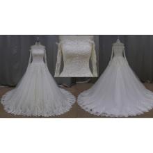 SL231-1 High Quality off Shoulder Lace Beaded Big Border Wedding Dress 2016