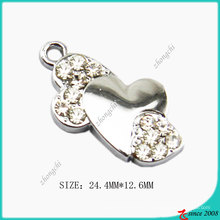 Aleación de zinc Bent Heart Charm Jewelry Making