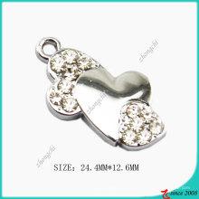 Fabrication de bijoux de charme de coeur courbé en alliage de zinc