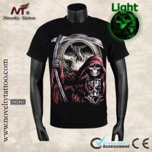 Y-100206 Grim reaper votre temps est en hausse-Luminous T-shirt brille dans le noir
