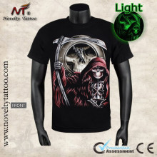 Y-100206 Grim reaper your time is up-Luminous T-shirt glows in the dark