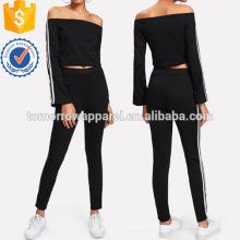 Stripe Contraste Side Off épaule Top et pantalons fabrication en gros de mode femmes vêtements (TA4098SS)