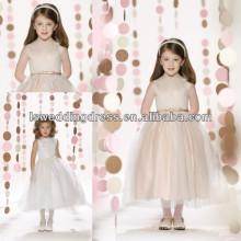 HF2098 mais novo estilo jóia pescoço branco laço topo sem mangas arco de cetim frente organza chá comprimento vestido de baile zipper flor menina vestidos